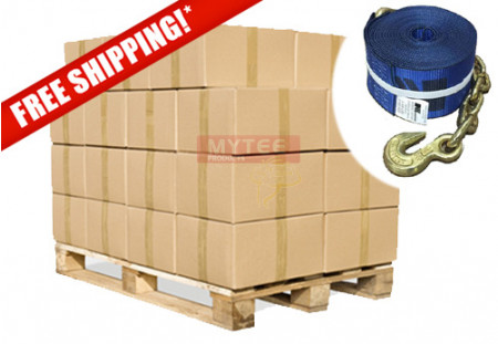 "(240 Pack Full Pallet) 4""x30' Winch Straps with Chain Anchor - Kinedyne, WLL 5400  Flatbed Tie Down Strap"