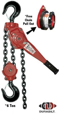 Durabilt Lever Hoists 6 Ton Rated Capacity 15ft Standard Lift