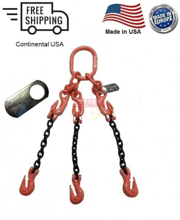 """Chain Sling G100 3-Leg 3/8"""" x 15 ft with Adjusters, Cradle Clevis Grab Hook"""