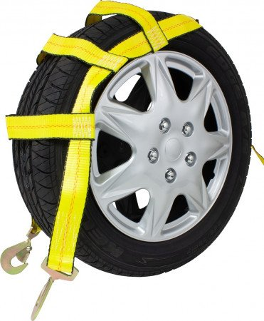 Tow Dolly Wheel Net Basket Strap w/ Snap Hooks (No Ratchet)