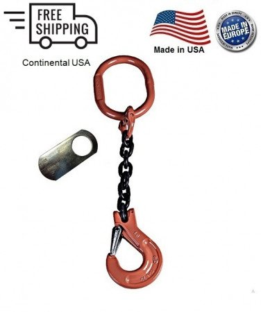 "Chain Sling G100 1-Leg 1/2"" x 5 ft, Clevis Sling Hook w/Latch"