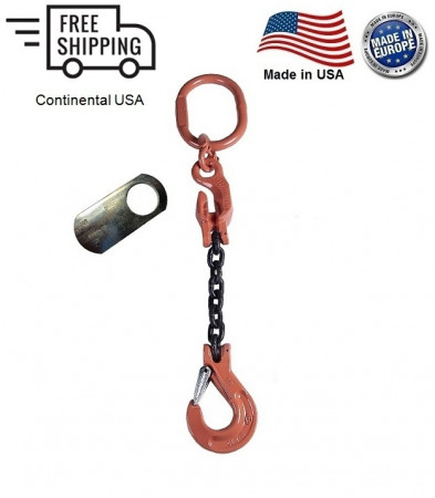 "Chain Sling G100 1-Leg 1/2"" x 12 ft with Adjuster, Clevis Sling Hook w/ Latch"
