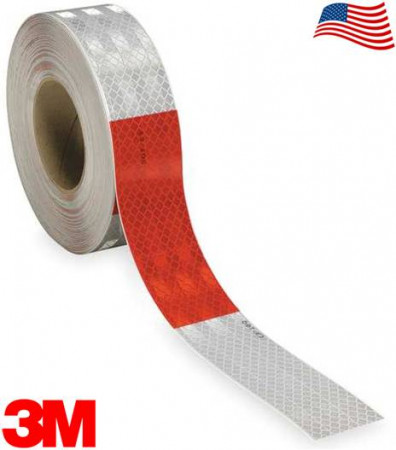 "3M Flexible 913-326 DOT Conspicuity Tape 6"" White / 6"" Red 2"" x 150'"