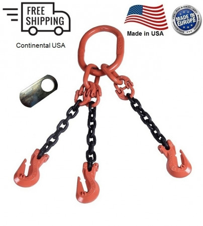 "Chain Sling G100 3-Leg 7/32"" x 20 ft, Cradle Clevis Grab Hook"