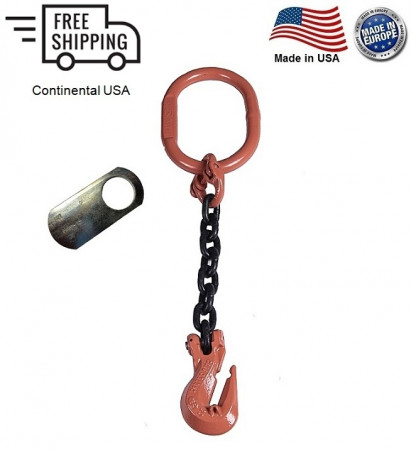 "Chain Sling G100 1-Leg 7/32"" x 10 ft, Cradle Clevis Grab Hook"