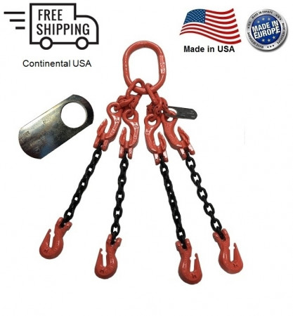 "Chain Sling G100 4-Leg 5/8"" x 15 ft with Adjusters, Cradle Clevis Grab Hook"