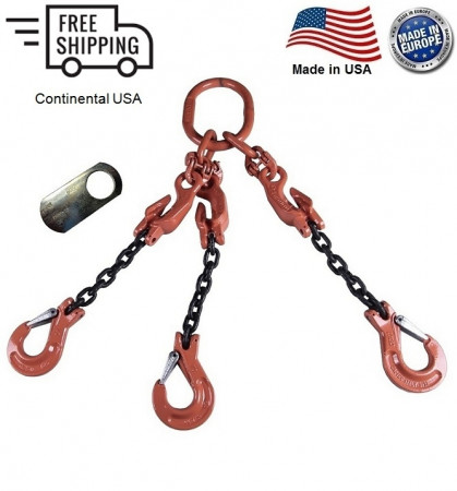 "Chain Sling G100 3-Leg 5/8"" x 15 ft with Adjusters, Clevis Sling Hook w/ Latch"