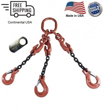 "Chain Sling G100 3-Leg 9/32"" x 12 ft with Adjusters, Clevis Sling Hook w/ Latch"