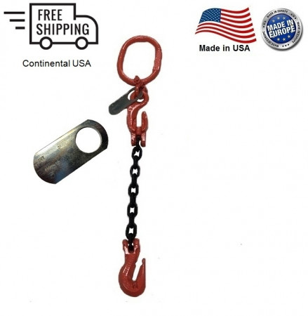 "Chain Sling G100 1-Leg 5/8"" x 10 ft with Adjuster, Cradle Clevis Grab Hook"