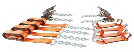 8 Point Tie Down Kit w/ Extensions, Stainless Steel Ratchets and High Abrasion Webbing