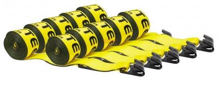 """(10 Pack) 4""""x27' Winch Straps w/flat hook, WLL 5400 Flatbed Tie Down Strap"""