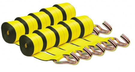 "(10 Pack) 4""X30' Winch Straps w/wire hook, WLL 5400  Flatbed Tie Down Strap"