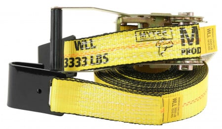 "2"" x 30' Ratchet Straps w/flat hook, WLL 3,333 Trailer Tie Down - Yellow"