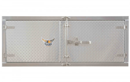 "Trailer Tool Box 24"" (H) x 24"" (D) x 48"" (W) Double Door Barndoor Style Aluminum Body w/ Paddle Lock"