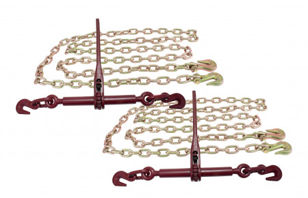 5/16 20' G70 Chain (2) and Ratchet Binder Boomer (2) Transport Chains