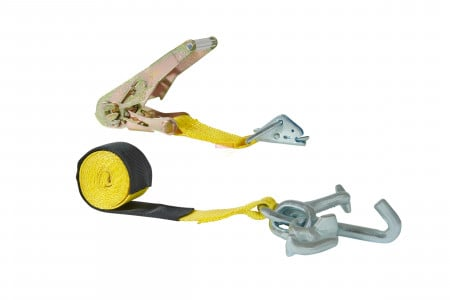 "2"" X 7' Ratchet Strap w/ Cluster Hook, HD E Fitting and Ratchet and Wear Sleeve, 1335 lbs WLL"
