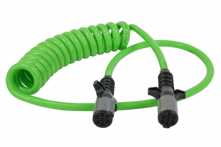 """7-Way ABS Coil 15' (Green) 48"""" x 12"""" Leads (Trailer x Tractor)"""