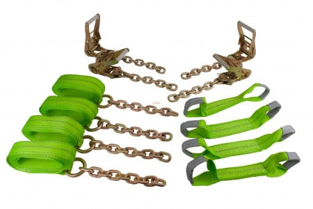 8 Point Roll Back Tie Down System w/ Chain Ends - Hi VIZ Green