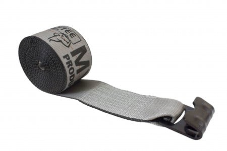 "4"" x 30' Winch Strap with Flat Hook - High Abrasion Grey"