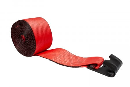 "4"" x 30' Winch Strap with Flat Hook - Red"
