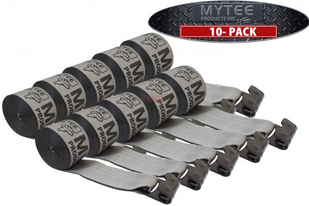 """(10 Pack) 4"""" x 30' Winch Strap with Flat Hook - High Abrasion Grey"""