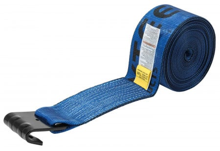 "4"" x 30' Winch Strap with Flat Hook - Blue"