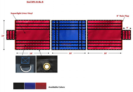 Superlight 14oz 3 Pc Lumber Tarp (8' Drop) - Red Ends, Blue Middle