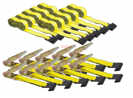 """(10 Pack) 2"""" x 30"""" Ratchet Straps MYTEE PRODUCTS - Yellow"""