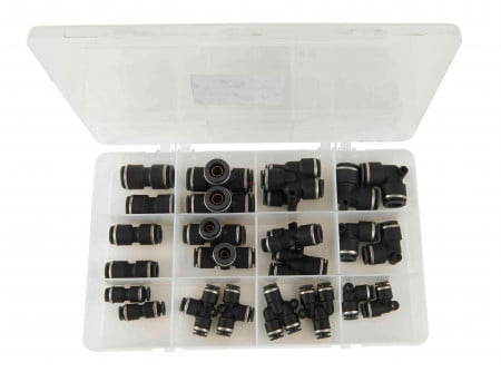 "DOT Air Brake Composite Fittings for Nylon Tubing Kit (1/4"", 3/8 & 1/2"") 24 Pc Kit"