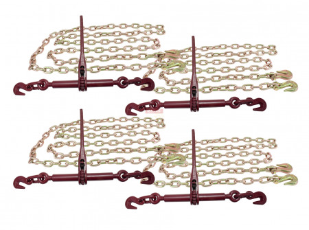 5/16 20' G70 Chain (4) and Ratchet Binder Boomer (4) Transport Chains