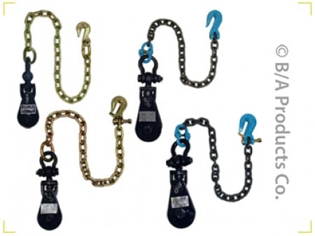 "B/A Products Snatch Block w/ Swivel Shackle, Twist Lock & 30"" Chains, 4 Ton 4.5"" Sheave"