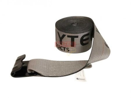 """4"""" x 30' Winch Strap with Flat Hook - High Abrasion Grey"""