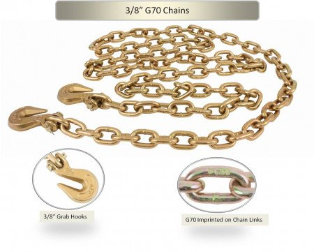 """3/8"""" X 20' G70 Chain with grab hooks, WLL 6,600 lbs"""