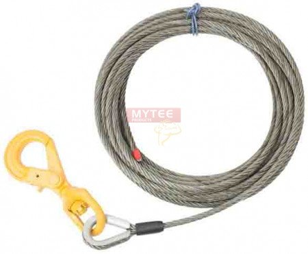 """Wire Rope Steel Winch Cable 3/8"""" x 100' Self-Locking Swivel Hook"""