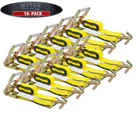 "(10 Pack) 2""X30' Ratchet Straps w/ Wire hook, WLL 3333 Tie Down Strap"