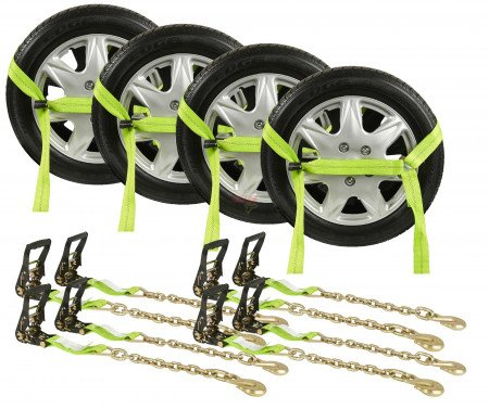 "2"" x 10' Side Mount Wheel Net with Two Ratchets & Chain Anchor (HI-VIZ Green Webbing)"