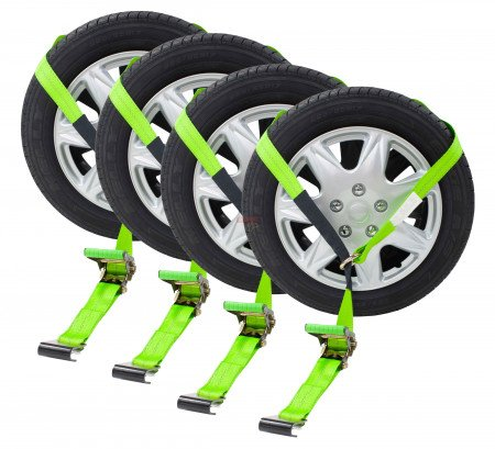 Auto Tie Down Straps w/ Flat Hook (High Visibility Green Webbing)