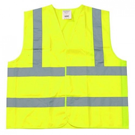 Safety Vest Class 2 Fluorescent Yellow w/ Silver Tape - Large