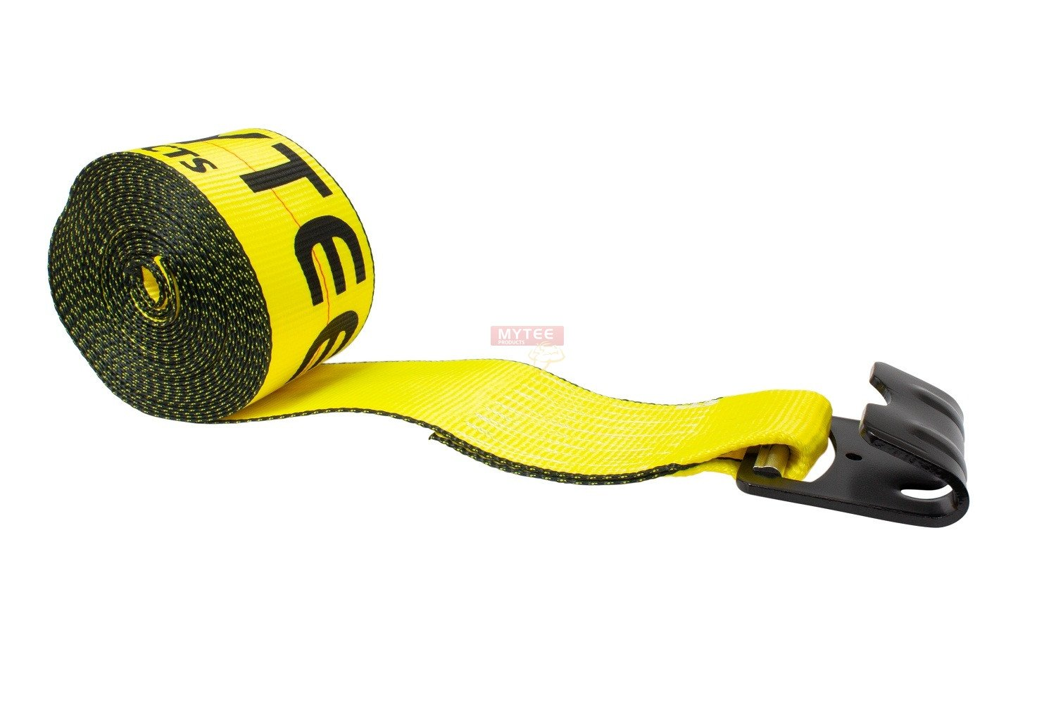 4 Inch x 27 Foot Yellow Winch Strap with Flat Hook 10 Pack