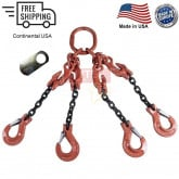 Chain Sling G100 4-Leg with Adjusters, Clevis Sling Hook w/ Latch