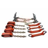 8 Point Roll Back Tie Down System w/ Chain Ends - High Abrasion Orange