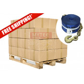 """Kinedyne (240 Pack Full Pallet) 4""""x30' Winch Straps with Chain Anchor - WLL 5400  Flatbed Tie Down Strap"""