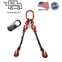 Chain Sling G100 2-Leg with Adjusters, Cradle Clevis Grab Hook