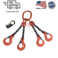 Chain Sling G100 4-Leg Clevis Sling Hook w/ Latch