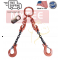 """Chain Sling G100 2-Leg 9/32"""" x 20 ft with Adjusters, Clevis Sling Hook w/ Latch"""